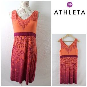 Athleta V Neck Empire Waist Batik Dress Sz Lg P